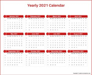 Yearly 2021 Calendar with Holidays