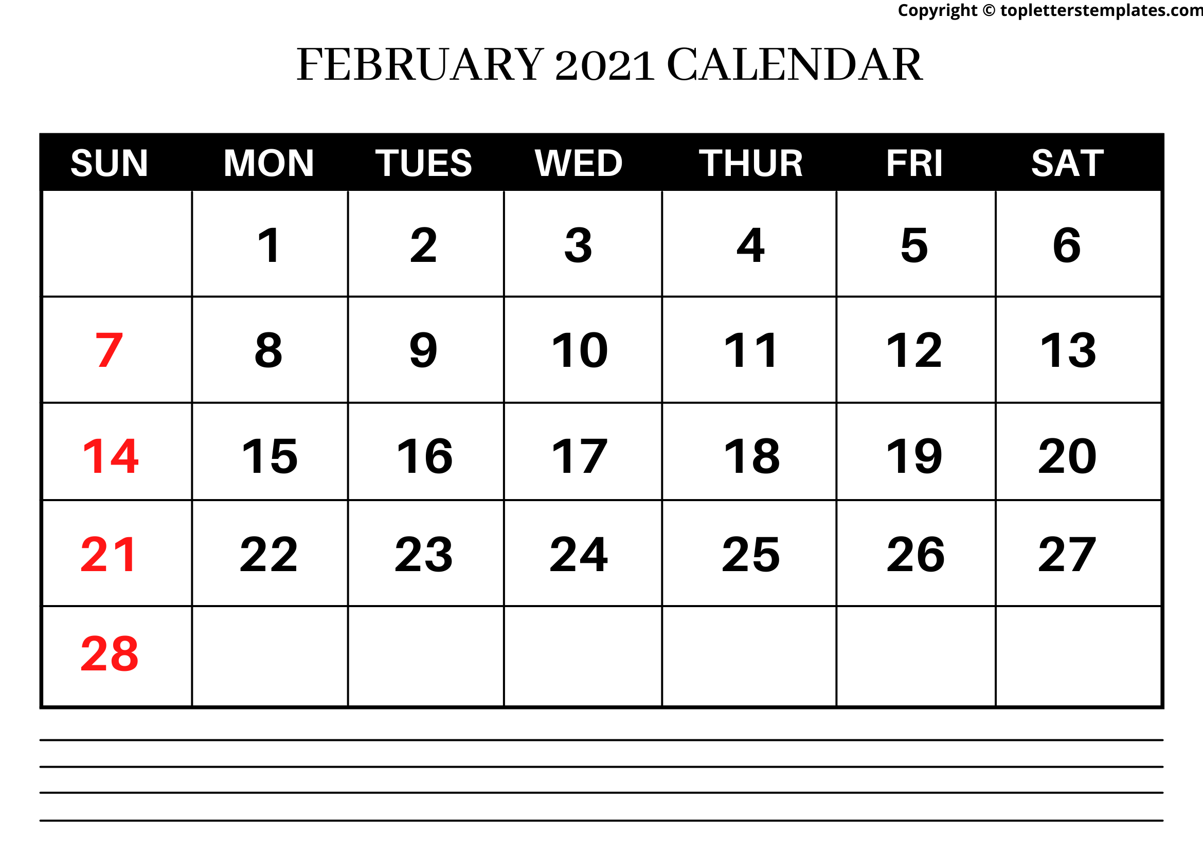February 2021 Calendar with Notes